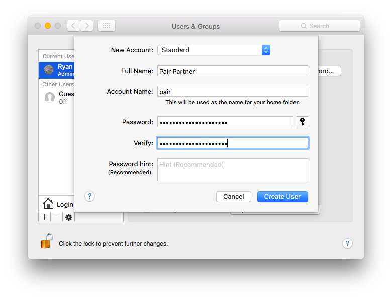 Screenshot of the new user dialog